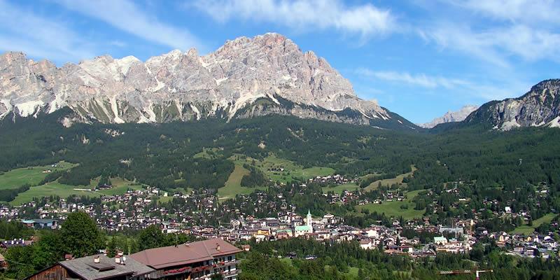 Panorama del centro di Cortina d'Ampezzo